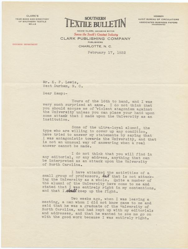 Letter, David Clark to Kemp Plummer Lewis
