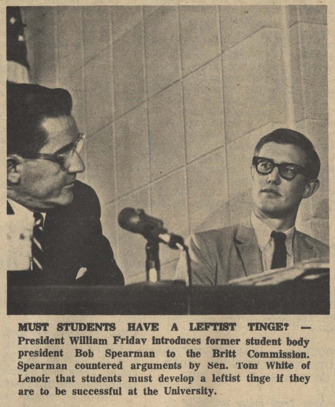 "Newspaper, ""Must Students Have a Leftist Tinge?"" <em>The Daily Tar Heel</em>, 16 September 1965, Chapel Hill, N.C."