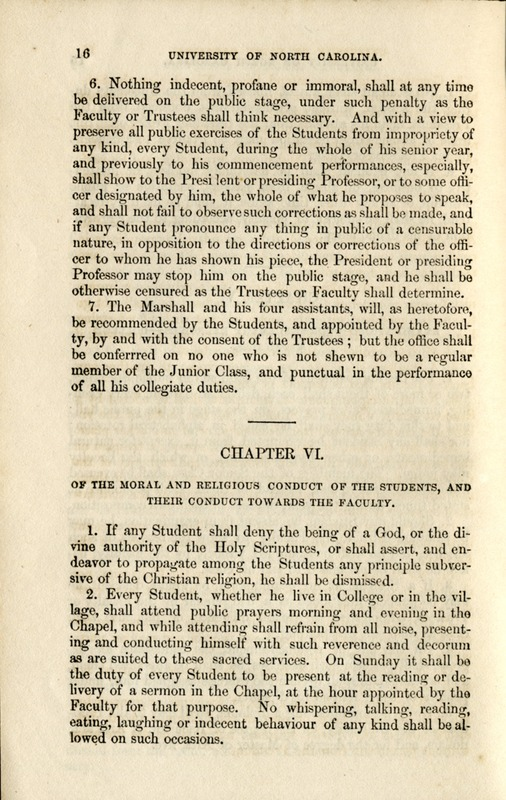 Pages 16 and 17 of Acts of the General Assembly and Ordinances of the Trustees, for the Organization and Government of the University of North Carolina. Raleigh: N.C. Institution for the Deaf and Dumb and Blind. 1852.