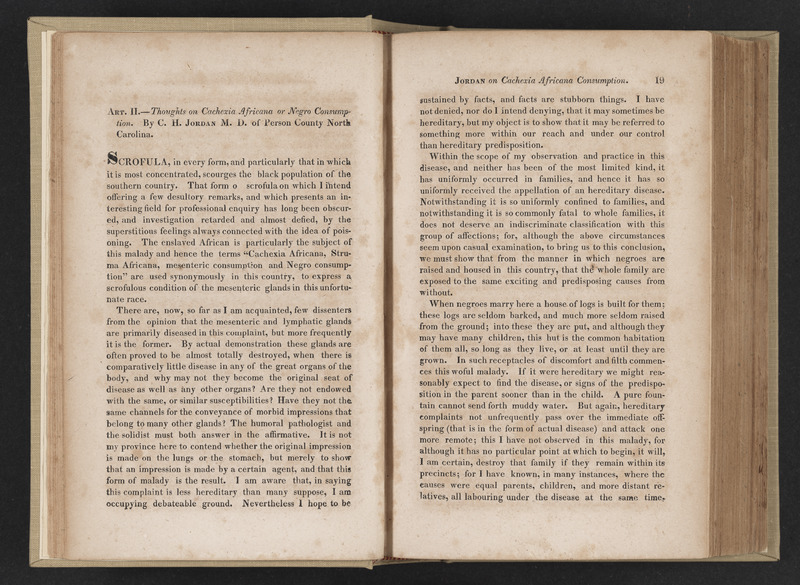 Volume 5 of the Transylvania Journal of Medicine from 1832 showing the article Thoughts on Cachexia Africana or Negro Consumption by C. H. Jordan