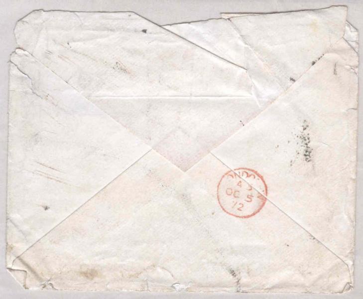 Envelope of letter to William Clark: 5 October 1872, back