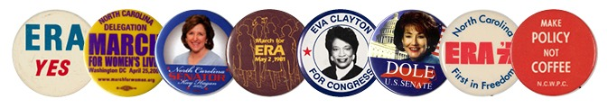 Banner image for Organized Womanhood exhibit--political buttons