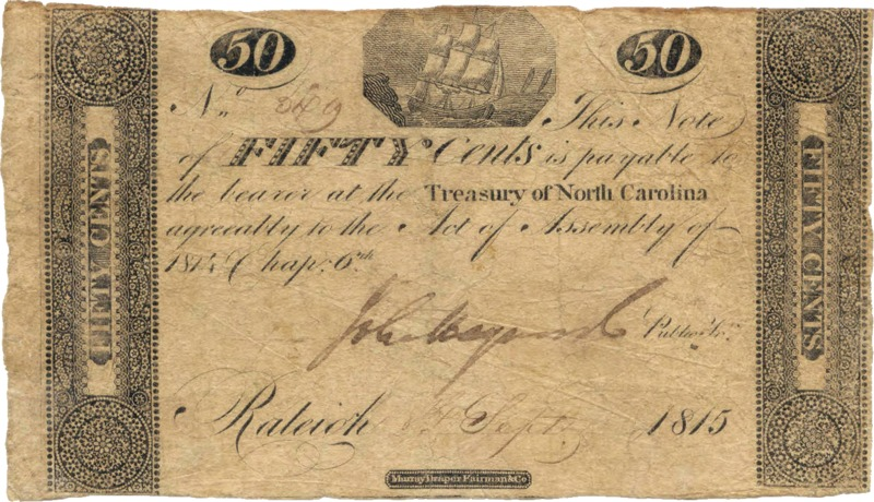 NC 50 cents treasury note 1815 with transparency