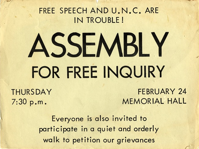 "Poster, ""Assembly for Free Inquiry,"" February 24 1966"