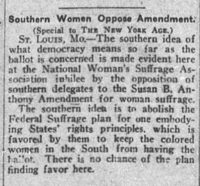 """""""Southern Women Oppose Amendment,"""" The New York Age, March 29, 1919"""