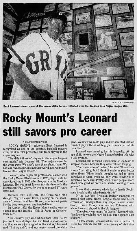 Buck Leonard, The Nashville Graphic August 5, 1980