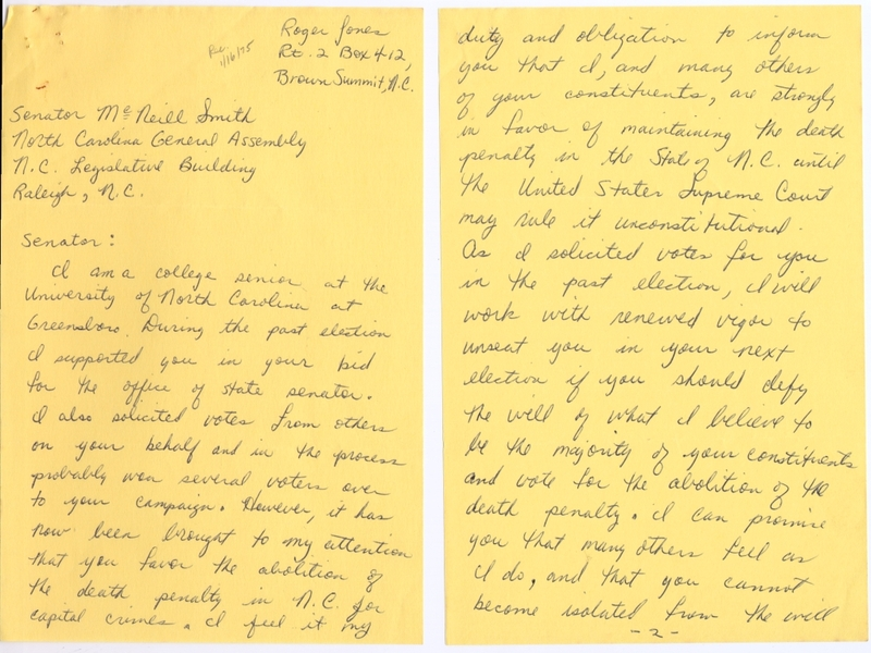 Letter from Roger Jones of Greensboro, N.C., to State Senator McNeill Smith