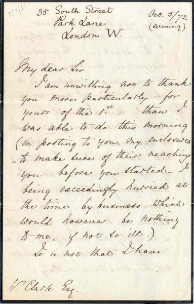 Letter to William Clark: 5 October 1872, page 1