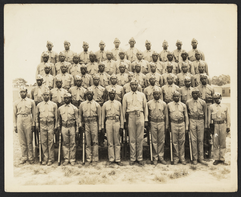 Photograph of African American US Marines trained at Montford Pointe, 1940s