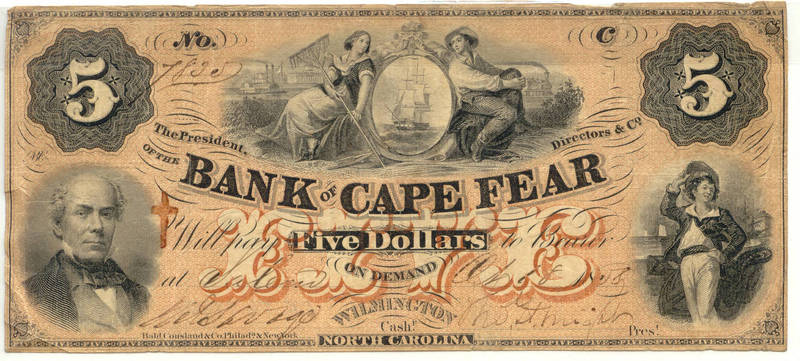 North Carolina Bank of Cape Fear $5, Salem Branch, 1858