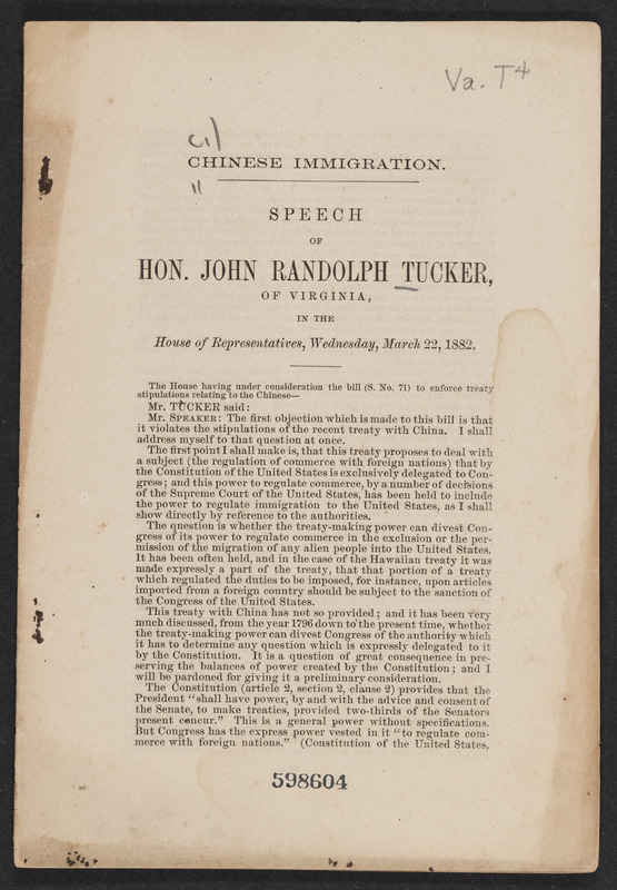 Image of a pamphlet reprinting a speech on Chinese immigration given by John Randolph Tucker