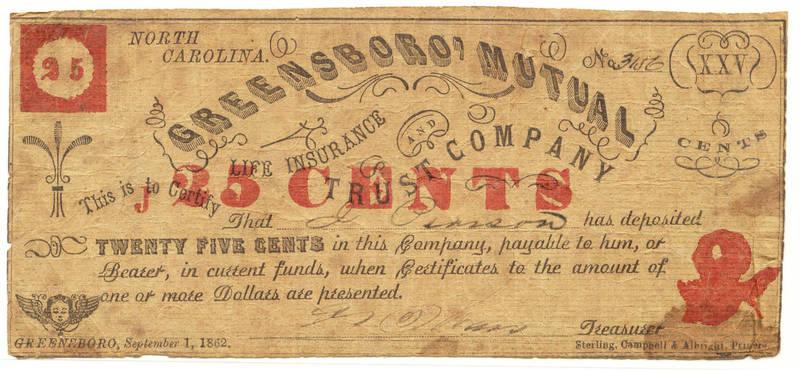 North Carolina Mutual Life Insurance Company 25 cent note, 1862