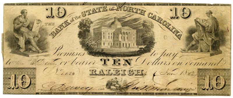 Bank of the State of North Carolina $10 genuine