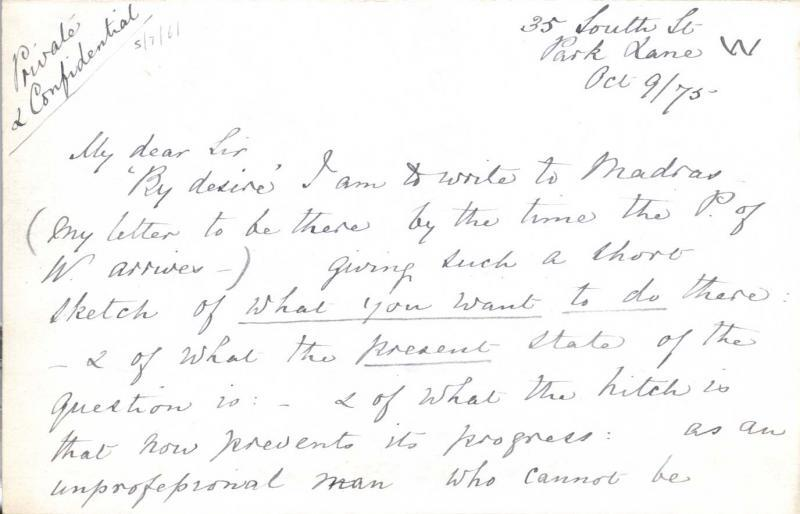 Letter to William Clark: 9 October 1875, page 1