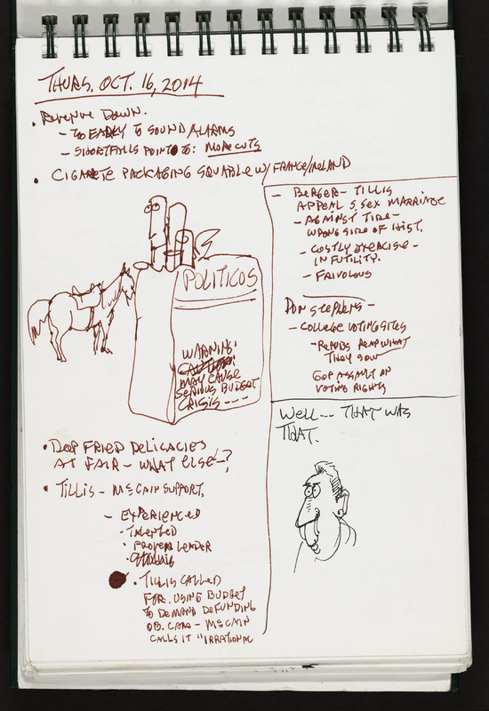 A page from Powell's sketchbook demonstrating his artistic process