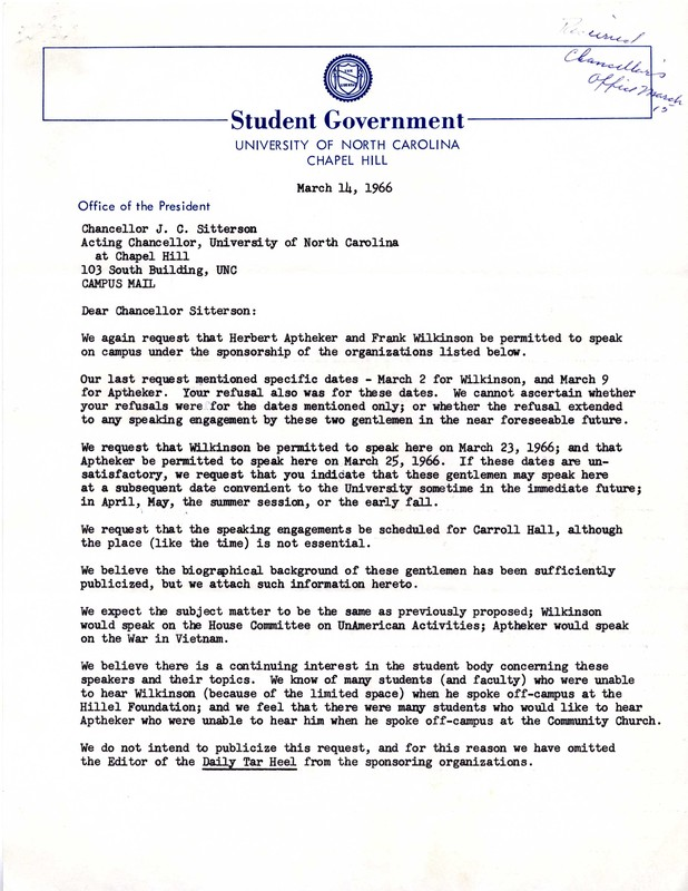 Letter, Students to Chancellor J.C. Sitterson, 14 March 1966, Chapel Hill, N.C.