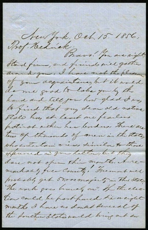 Letter, Hinton R. Helper to Benjamin S. Hedrick, October 15, 1856