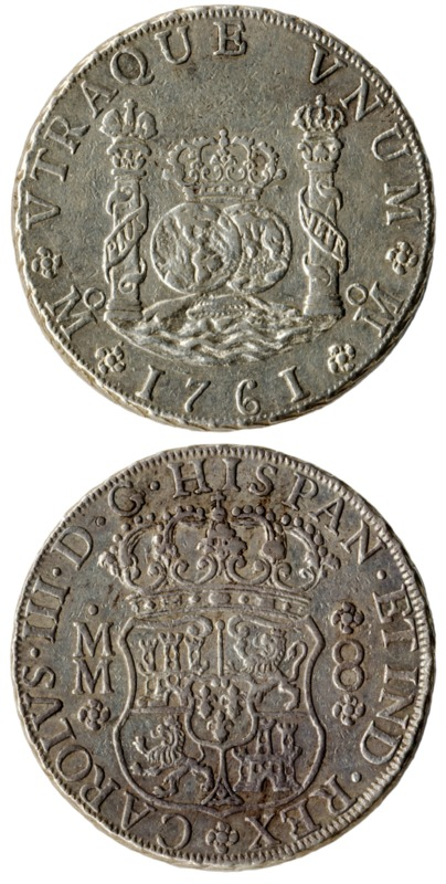 8 reales coin, Mexico, 1761