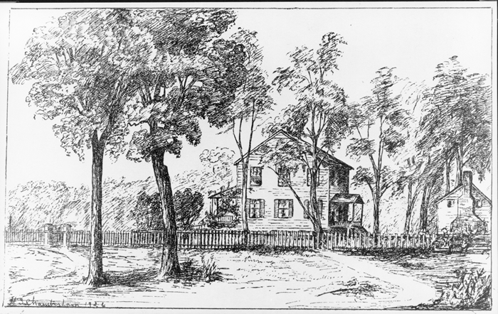 Sketch of the First President's House by Hope Summerell Chamberlain in 1926.<br />