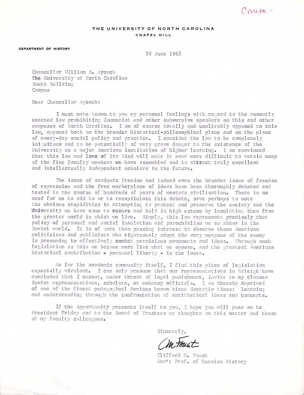 Letter, Clifford M. Foust to William Aycock, 28 June 1963, Chapel Hill, N.C.