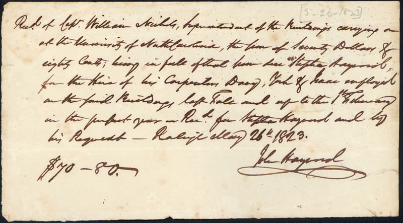 "26 May 1823. ""Receipt for payment made to Stephen Haywood."""