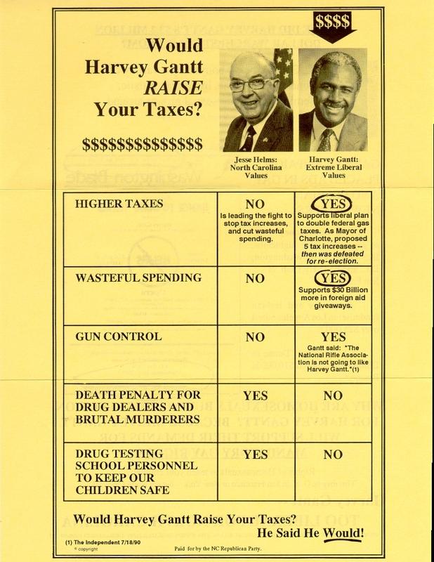 Jesse Helms campaign flyer