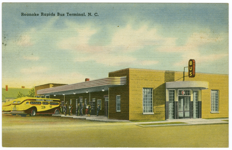 Postcard of Roanoke Rapids Terminal in North Carolina, 1950s