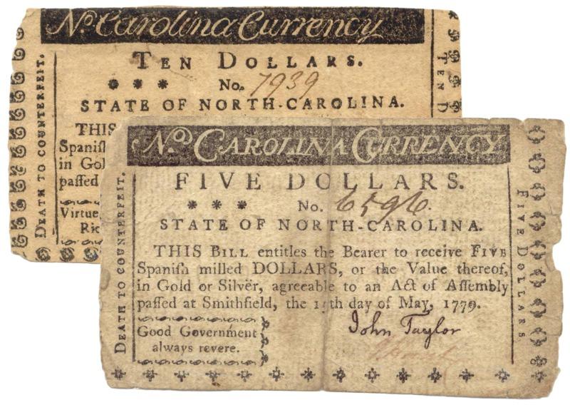 Two North Carolina 1779 notes