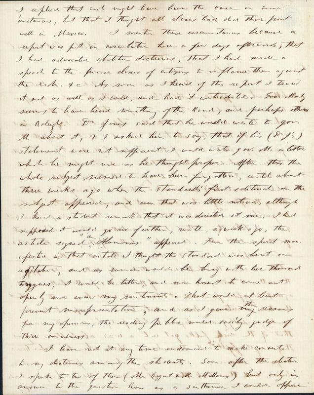 6 October 1856. Benjamin S. Hedrick to Governor Bragg.