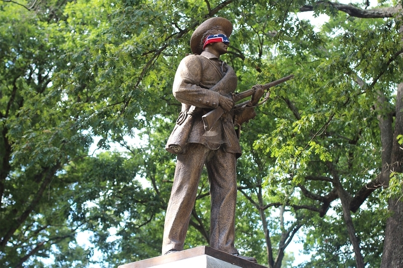 "Confederate monument ""Silent Sam"" with blindfold"