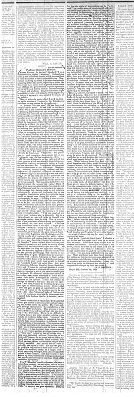 """Professor Hedrick's Defence."" 4 October 1856. The North Carolina Standard."