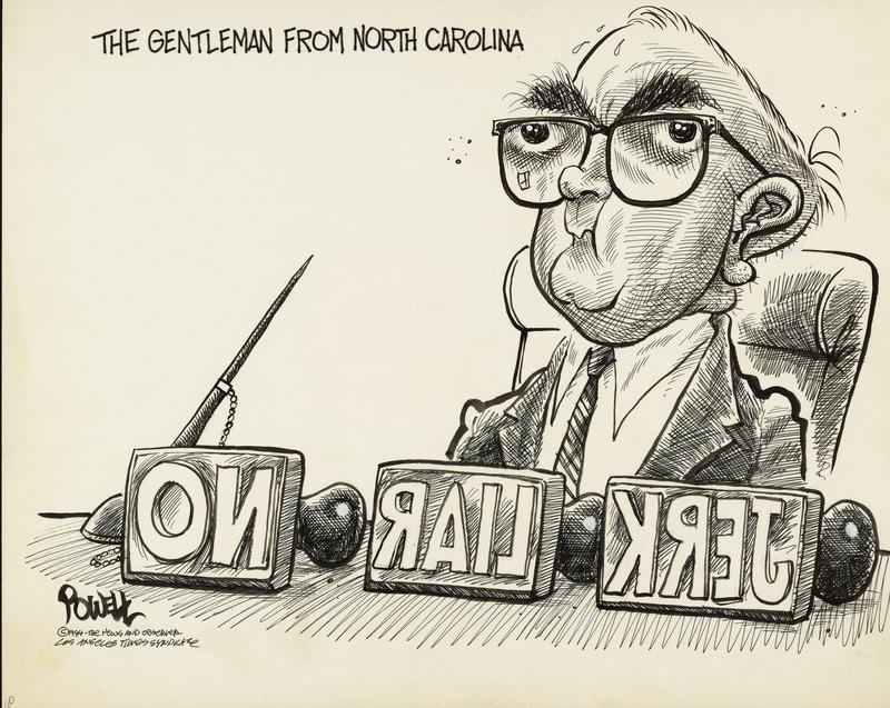 A depiction of Senator-No, Jesse Helms, the five-term Republican Senator