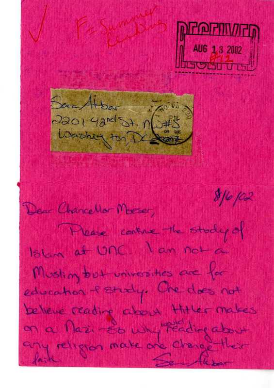 Letter, Sara Akbar to James Moeser, August 13, 2002.