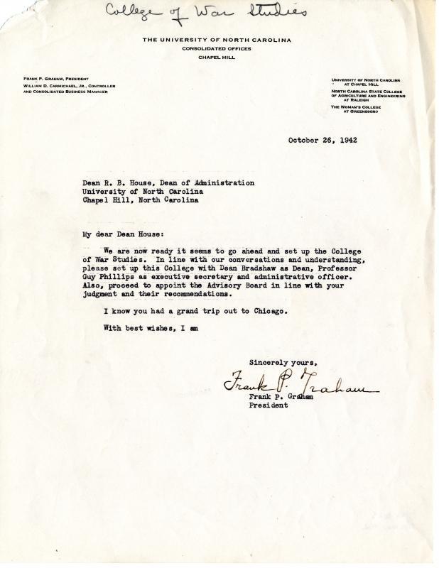 Frank P. Graham to Dean R. B. House
