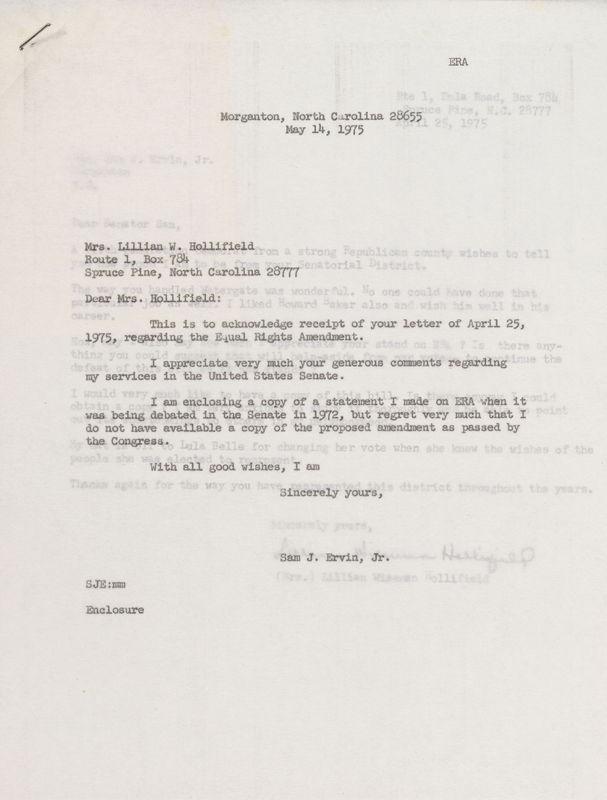 letter Sam Ervin to Lillian V Hollifield, May 14, 1975