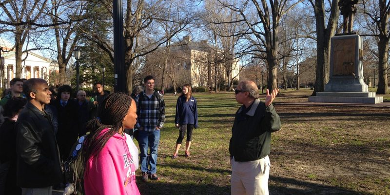 "Robert Porter leading the ""Black and Blue"" campus tour"