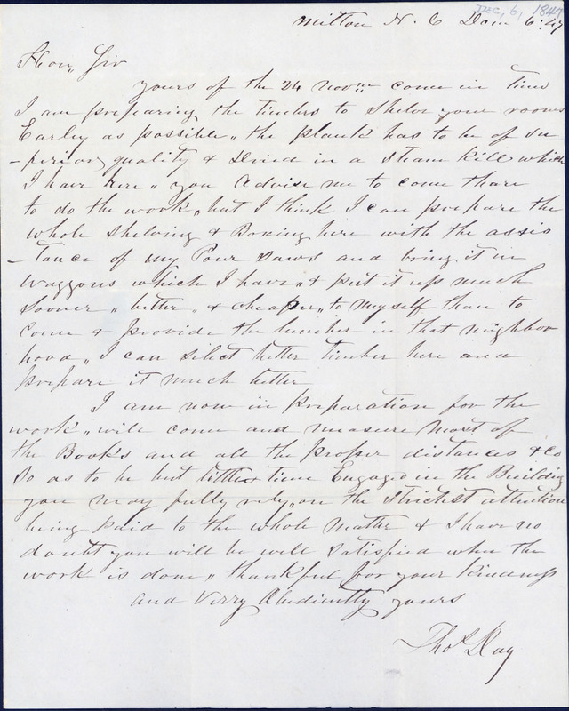 6 December 1847. Thomas Day to David L. Swain.