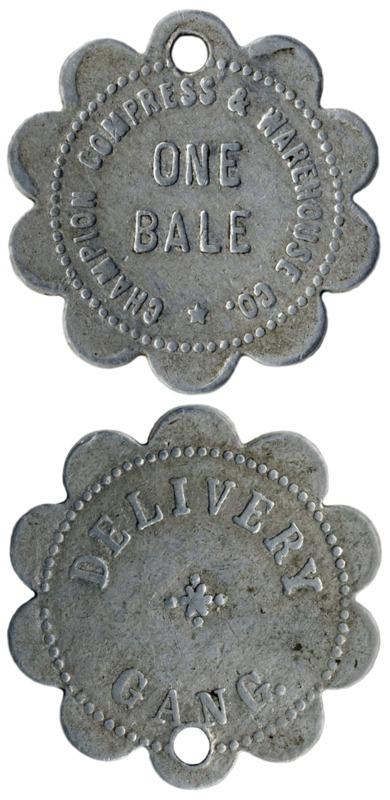 Champion Compress and Warehouse Company of Wilmington, North Carolina token ca. 1910-20