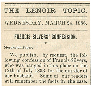 """Reprint of """"Frankie Silver's Confession"""""""