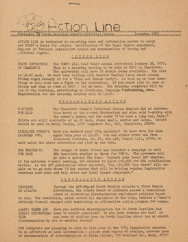 Action Line published by the N. C. Women's Political Caucus, Dec 1973