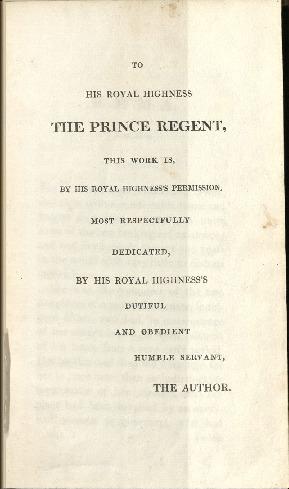 Dedication to Prince Regent