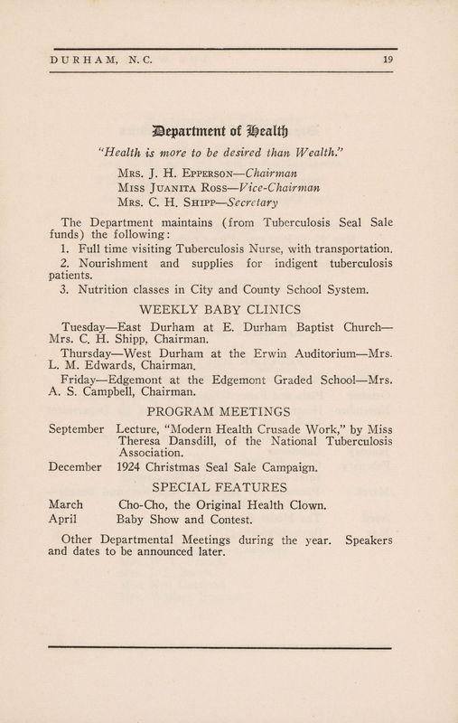 Department of Health, Durham, N. C., program