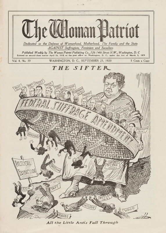 The Woman Patriot: Dedicated to the Defense of Womanhood Motherhood, The Family and The State Against Suffragism, Feminism and Socialism.<br /> Washington, D.C.: The Woman Patriot Publishing Company, September 25, 1920