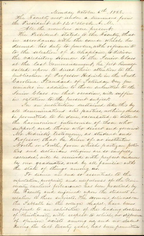 Document, Proceedings of the Faculty, October 6, 1856 <br />