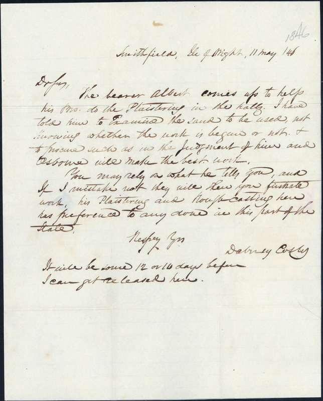11 May 1846. Dabney Cosby to David L. Swain.