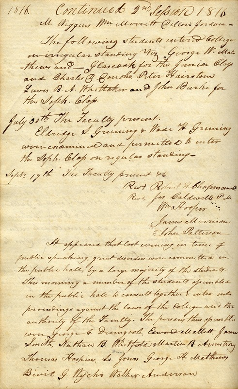 University of North Carolina faculty minutes, Sept. 20, 1816