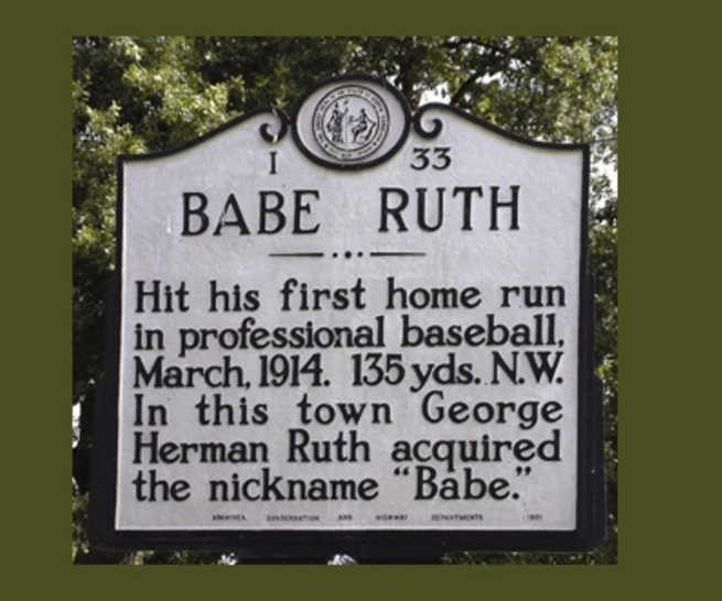 NC highway plaque for Babe Ruth in Fayetteville, NC