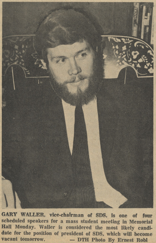 "Newspaper, ""Gary Waller, vice-chairman of SDS,"" <em>The Daily Tar Heel</em>, 6 February 1966, Chapel Hill, N.C."