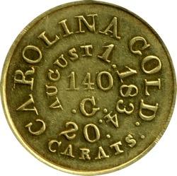 Bechtler $5 coin, reverse, for exhibit thumbnail