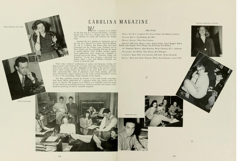 Photograph of Carolina Magazine staff, 1944